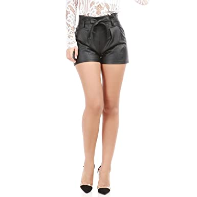 La Modeuse - Short en simili cuir taille haute  Amazon.fr  Vêtements ... b06181ada3c