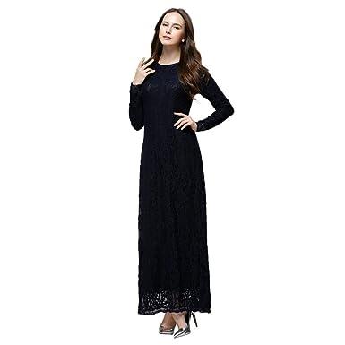 3e6d165edc4 Mysky Women Popular Muslim Elegant Slim Pure Color Floral Lace Double Layer  Long Maxi Dress Black
