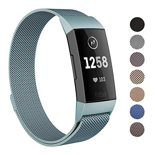 - SWEES Metal Bands Compatible Fitbit Charge 3 and Charge 3 SE, Milanese Loop Stainless Steel Magnetic Small Large Replacement Strap Accessories for Fitbit Charge 3 Fitness Tracker Smart Watch Women Men