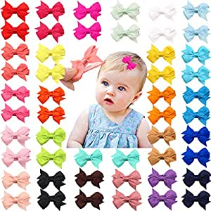 """50 Pieces 25 Colors in Pairs Baby Girls Fully Lined Hair Pins Tiny 2"""" Hair Bows Alligator Clips for Little Girls Infants Toddlers"""