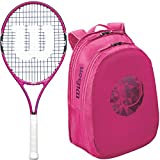 Wilson Burn Pink 23'' Pre-Strung Junior Tennis Racquet Set or Kit Bundled with a Pink Junior Collection Tennis Racket Backpack (Perfect for Kids Ages 7-9)