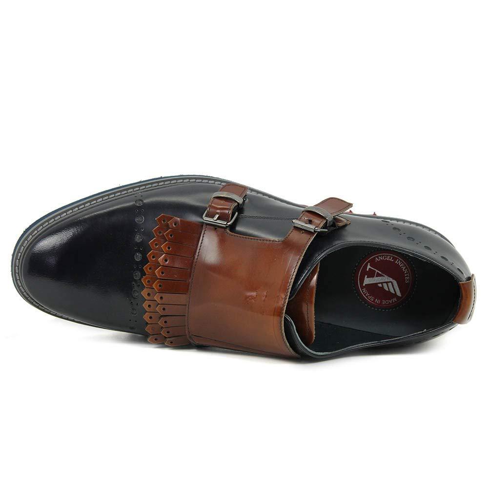 Ángel Infantes - Zapato - Hebillas - Flecos - Piel - Marino - 42: Amazon.es: Zapatos y complementos