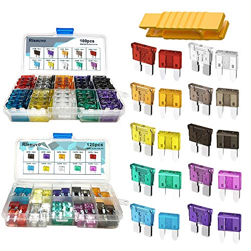 220pcs - Car Blade Fuses Assortment Kit, Automotive Fuses - Standard & Mini (2A/ 3A/ 5A/ 7.5A/ 10A/ 15A/ 20A/ 25A/ 30A/ 35A), Car Boat Truck SUV Automotive Replacement Fuses by Riseuvo