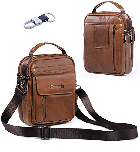 Hengwin Belt Pouch Bag Leather iPhone 6/7 Plus Holster Case with Belt Loop Men Travel Belt Bag Small Wallet Purse With Shoulder Strap Waist Bag Crossbody iPhone Pouch Fanny Messager Pack+Hwin Keychain