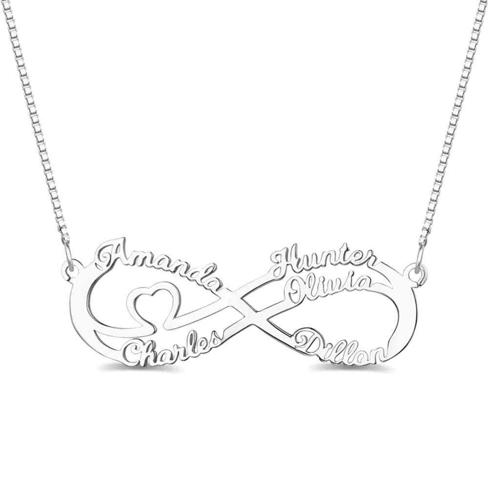Personalized 6 Names Infinity Necklace 925 Sterling Silver Family Necklace for Mother Grandma Custom Gift
