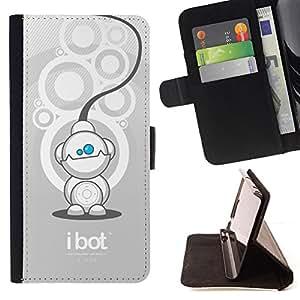 - Funny Cute iBot Robot/ Personalizada del estilo del dise???¡¯???¡Ào de la PU Caso de encargo del cuero del tir???¡¯????n del s - Cao - For Samsung Galax