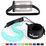 Unigear Premium 10' Coiled SUP Leash (11 Colors) Inflatable Paddle Board Leash with Waterproof Wallet (Sky blue-new)