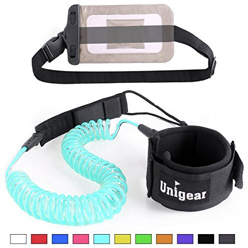 Unigear Premium 10 Coiled Sup Leash  11 Colors  Inflatable Paddle Board Leash With Waterproof Wallet  Sky Blue New