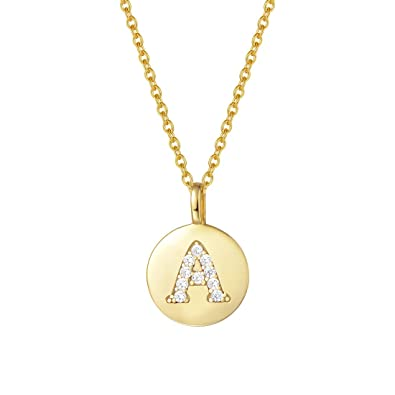 "d733bf63b1 Agvana Gold Plated Sterling Silver Initial Pendant Necklace Round Disc CZ  Initial Dainty Letter Necklace Gifts for Women, 16"" + 2"