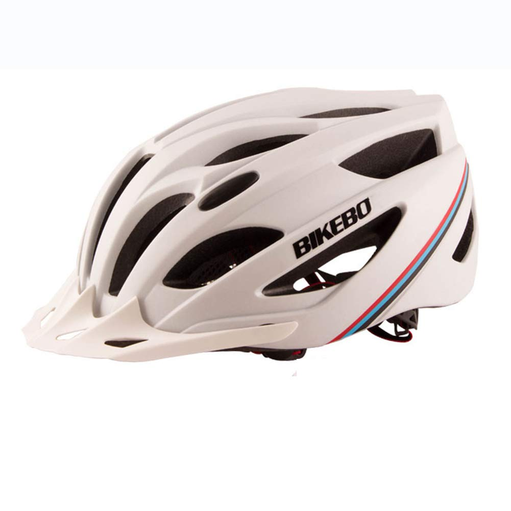 White Bike Helmet, Unisex Adults Breathable Helmet Adjustable Sports Cycling Road Safety Helmet with Tail Warning Light,blueee