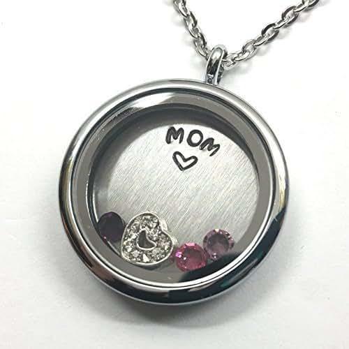 Amazon.com: MOM Necklace - Floating Charm Locket - Memory