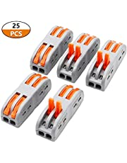 smseace 25 Pcs Lever Wire Nut Conductor Compact Connectors Button clamp Quick Terminal Block for 2 Circuit Inline Splices 28-12 AWG PCT-222-25P
