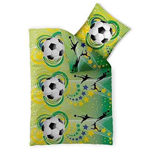 2-teilige Kinder-Jugend-Bettwäsche | Größe 135 x 200 cm | Jungen Mädchen Motiv Fußball WM | 2 tlg. Baumwolle Renforcé 4-Jahreszeiten | CelinaTex 0003362 | grün gelb schwarz Ball