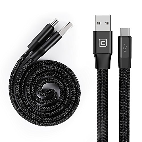 Retractable USB Type C Cable, CAFELE Auto-Contraction Nylon Braided Charging Data Sync Cable Cord for Samsung Galaxy S9 S8 plus Note 8, Pixel XL, Moto Z Z2, LG G5 G6 V20, Nexus 6P 5X, Black, 2ft
