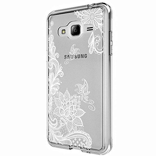 Galaxy J3 Case, Galaxy J3V Case, Skmy Shockproof Hard PC+ TPU Bumper Case Scratch-Resistant Cover for Samsung Galaxy J3 V/J36V, Galaxy Sky/Sol, Galaxy Amp Prime, Galaxy Express Prime (Lace Flower)