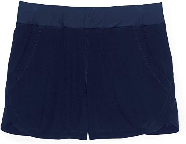 Lands End Womens 9 Quick Dry Elastic Waist Modest Board Shorts Swim Cover-up Shorts with Panty