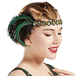 1920s Rhinestone Peacock Flapper Elastic Headband