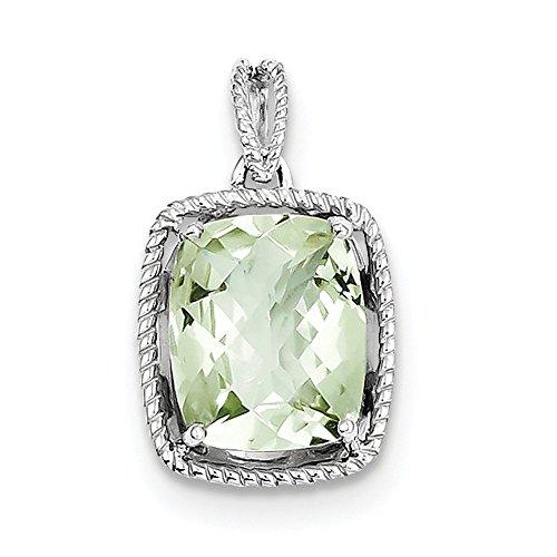 Sterling Silver Rhodium Plated Green Quartz Pendant. Gem Wt- 4.54ct