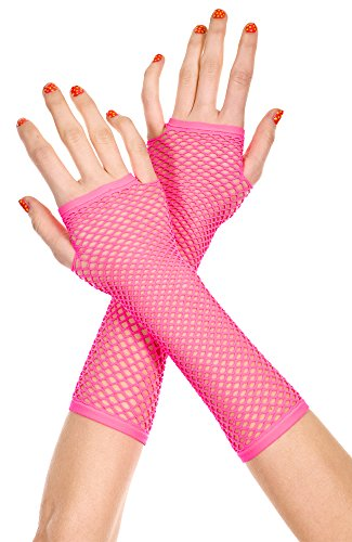 MUSIC LEGS Women's Thick Mini Diamond Net Arm Warmer, Hot Pink, One Size Sexy And Hot Net
