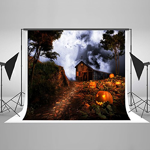 Ghost Halloween Photo Booth Backdrop for Photography Collapsible Seamless Cotton Photographic Backdrop Photo Studio Props 10x10Ft]()