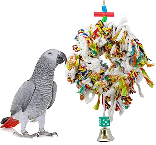 Bonka Bird Toys 1015 Sm. Fluffy Ring Bird Toy parrot cage toys cages swing preen plucker ()