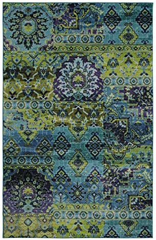 Mohawk Home Prismatic Plano Lime Green Distressed Boho Patchwork Precision Printed Area Rug, 8 x10 , Blue and Green