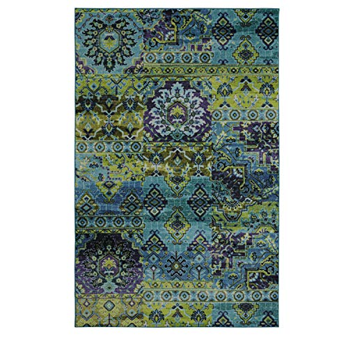 Mohawk Home Prismatic Plano Lime Green Distressed Boho Patchwork Precision Printed Area Rug, 5 x8 , Blue and Green