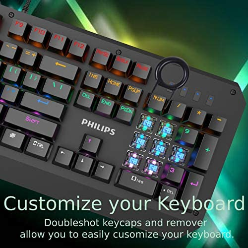 Philip RGB LED Backlit Mechanical Gaming Keyboard with Anti-Ghosting Full Key N-Rollover-Metal Base with Clicky Blue Switches for Windows, Gaming, PC 51o53mn5tvL