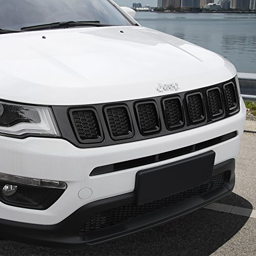 Grille Grill Cover Inserts Frame Trims Kit For 2017-2018 Jeep Compass (7pcs,Black)