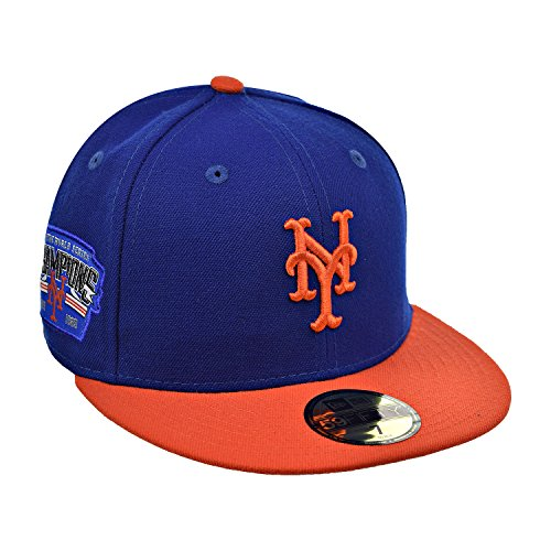 New Era New York Mets 59Fifty Men's Fitted Hat Cap Navy Blue/Orange 80462370 (Size 7 1/8) (Navy Orange Fitted Hats)