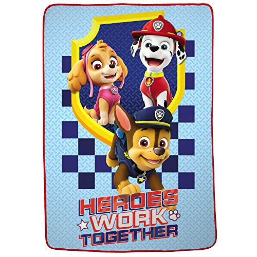 "Nickelodeon Paw Patrol Soft Plush Microfiber Kids Bedding Blanket Twin/Full Size 62"" x 90"" Blue - Heroes Work Together"