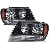 Jeep Grand Cherokee Laredo New Black Headlights Set w/Clear Signal Lights
