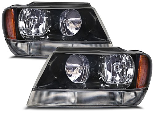 Headlights Depot Replacement for Jeep Grand Cherokee Laredo New Black Headlights Set w/Clear Signal Lights w/o Bulbs