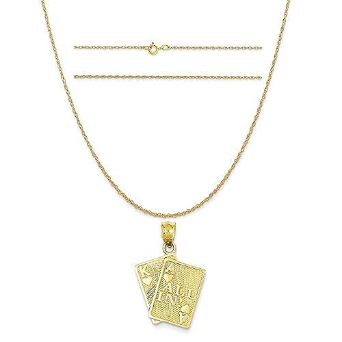Amazon.com: Oro amarillo de 14 quilates de corazones y rey ...