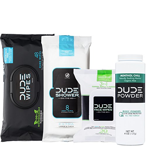 DUDE Wipes Flushable (48ct) DUDE Shower Body Wipes (8ct) DUDE Face Wipes (30ct) & DUDE Body Powder Menthol Chill (1 Bottle) - Head to Toe Ultimate DUDE Combo -