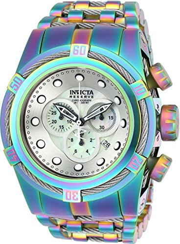 Invicta Reserve 52mm Bolt Zeus Swiss Quartz Chronograph Iridescent Stainless Steel Bracelet Watch (22840) (Bolt Reserve Zeus Invicta)