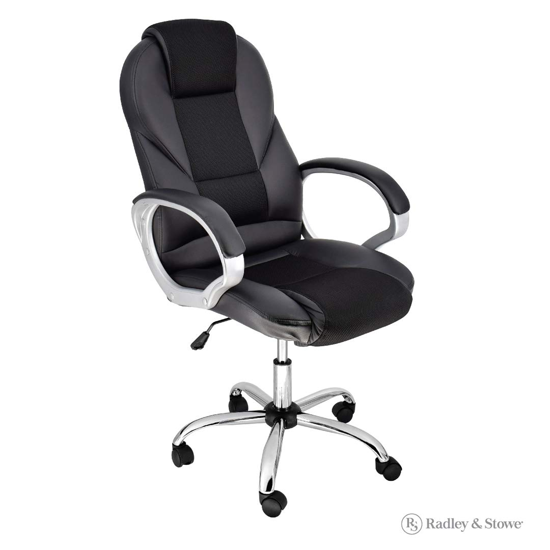 Breathable High-Back Executive Chair with Comfort-Airflow (Black Rolling Desk Chair for Office)