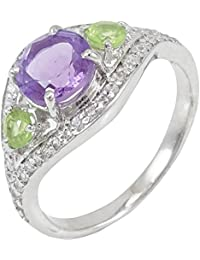 925 Sterling Silver Peridot & Amethyst Stone Ring Indian Fashion Women Jewelry