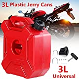 Universal 3 Litre Fuel Tank Jerry Cans Spare Plastic Petrol Tanks Atv Jerrycan Mount Motorcycle Car Gas Can Gasoline Oil Container Fuel-jugs w/ Lock +Mounting Kit