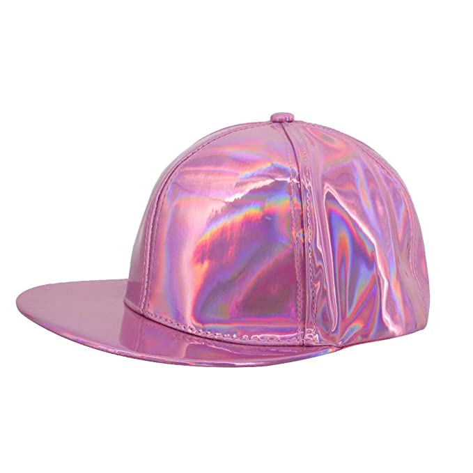 1939e172d37ea4 Surkat Unisex Hologram Baseball Cap Adjustable Snapback Hip Pop Dance Cap  Casual Sun Hat(Purple