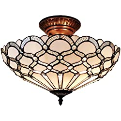 "Amora Lighting AM108CL17 Tiffany Style Ceiling Fixture Lamp, 17"" Wide, White"