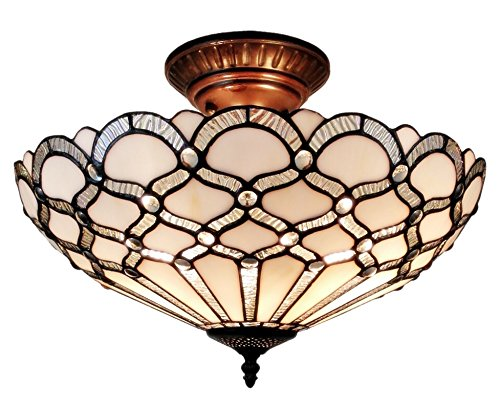 Amora Lighting AM108CL17 Tiffany Style Ceiling Fixture Lamp, 17