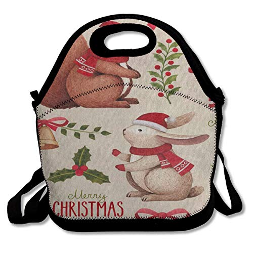 Lunch Bag Tote Bag Merry Christmas Rabbit Bunny Squirrel Candy BellTravel Picnic Organizer Lunch Holder Handbags Lunch Bag Box for Work School ()