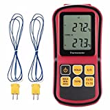 Digital Thermometer, Liumy 110V LCD Dual-channel Temperature Controllers, Temperature Meter Tester for K/J/T/E/R/S/N Thermocouple, Celsius and Fahrenheit Accurate to ±0.1%+0.6?