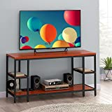 """LITTLE TREE TV Stand, 60"""" Industrial Entertainment Center with Storage, Large 3-tier Media Console Table for Entryway Hollways and Living Room, Heavy Duty Metal Frame & Wood, Teak For Sale"""