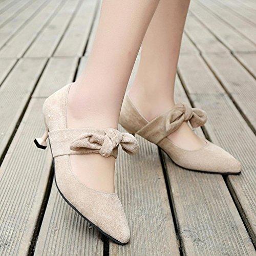 JIANGFU Frauen verbeugen Sich Fein mit High Heel Spitzen High Heels, Sommer Frauen Schuhe Wies Pumps Schuhe High Heels Schuhe Hochzeit Stiletto Schuhe Beige