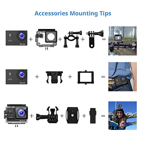 Victure 4K Action Camera 20MP WiFi Diving 40 Sport Cam with Rechargeable Batteries Accessories Surfing
