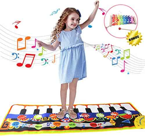 Joyjam Toys for 2-5 Year Old Girls Boys, Kids Piano Mat Xylophone Set Electronic Musical Toy Mats for Toddlers Playmat 8 Instrument 44'' x 15'' Floor Music Mat