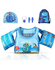 Tiokkss Kids Swimming Vest with Swim Cap and Storage Bag Costume Set 2-6 Years Boy & Girl, Toddler Swimming Vest for Pool, Baby Swimming Vest with Arm Wings for Learn-to-Swim Kids Infant