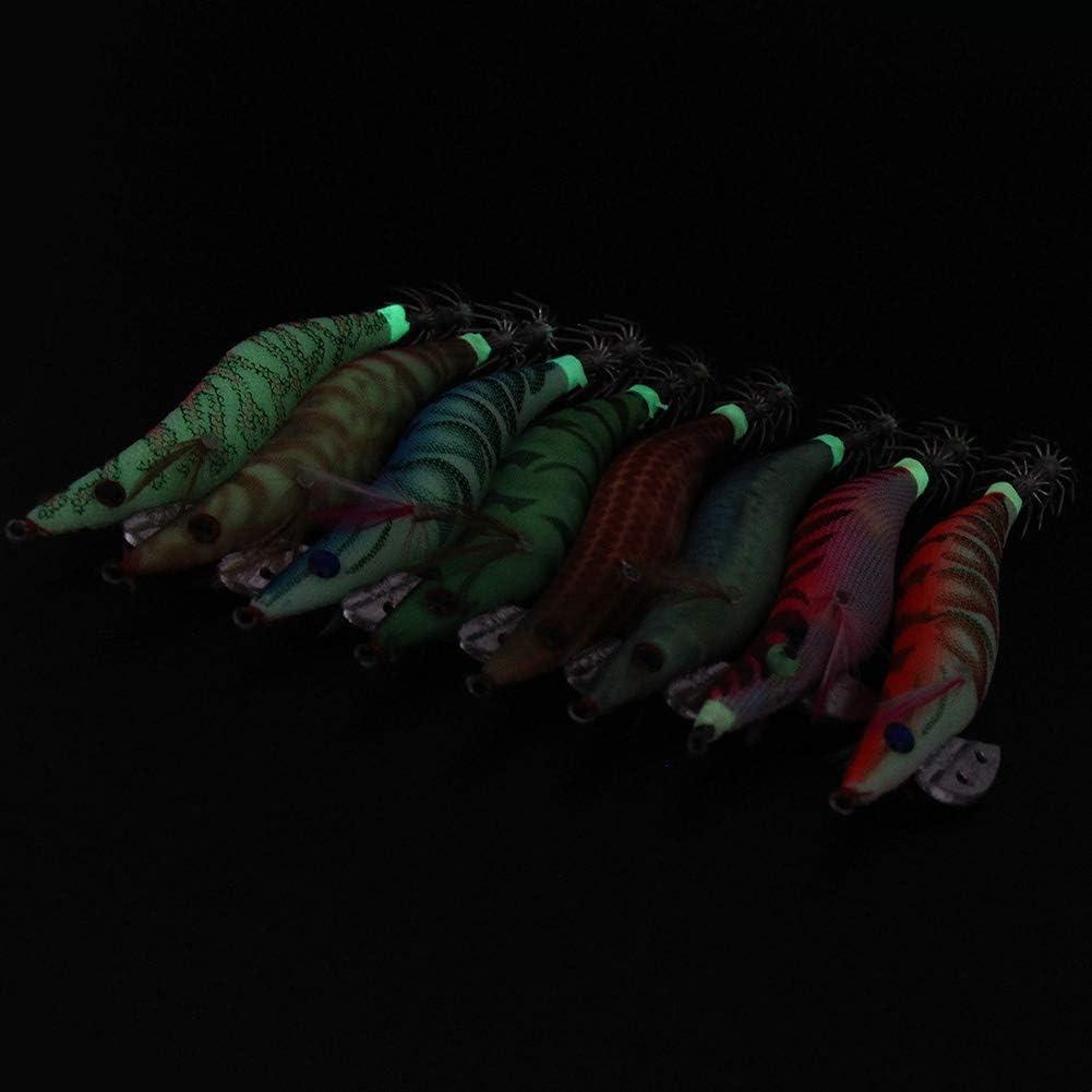 8 Piezas Luminoso Pesca Camarones Se/ñuelo Cebo de Calamar para Sepia Pulpo